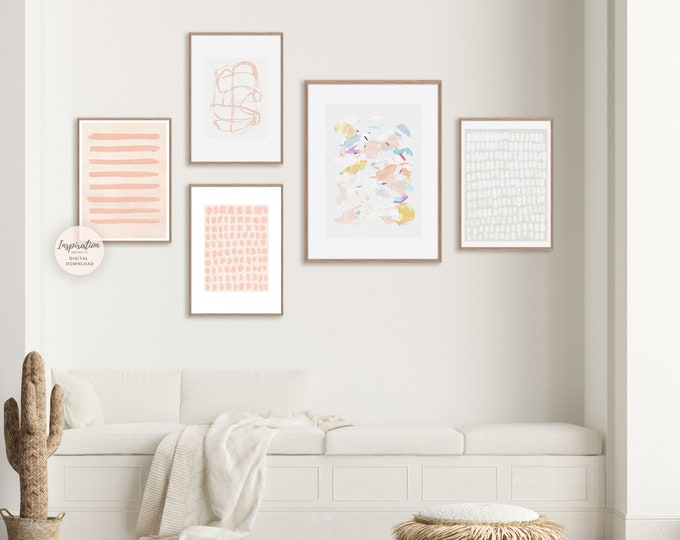 Pastel Gallery Wall Set, Colourful Abstract Art, 5 Piece Wall Art, Printable Art, Blush Pink Wall Art, Boho Wall Art, Nursery Wall Art