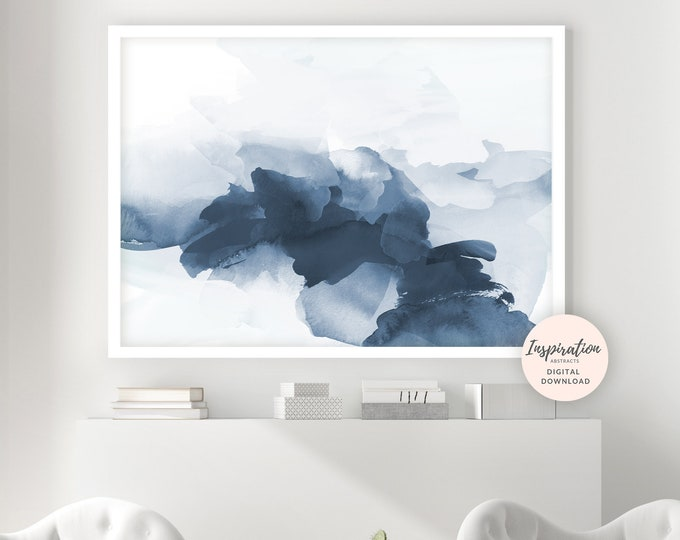 Abstract Landscape, Minimal Abstract Painting, Printable Art, Watercolour Painting, Modern Wall Art, Navy Blue Wall Art, Beach House Art