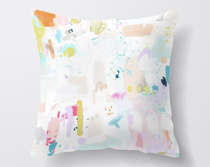 Pastel Throw Pillow, Decorative Pillows, Cushion Covers Uk, New Home Gift, Abstract Throw Pillow, Boho Cushion, Colourful Cushion