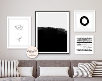 Gallery Wall Prints, Minimal Abstract Art, Set of 4 Art Prints, Monochrome Prints, Nordic Wall Art, Black and White Wall Art