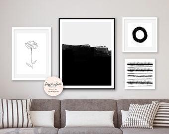 Gallery Wall Prints, Minimal Abstract Art, Set of 4 Art Prints, Monochrome Prints, Nordic Wall Art, Black and White Wall Art