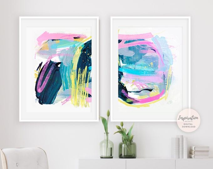 Set of Two Prints, Colourful Paintings, Abstract Print Set, Printable Art, 18x24 Art Prints, Mixed Media Art, Colourful Wall Art