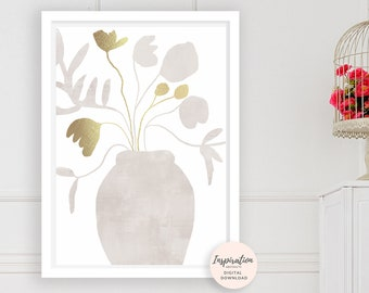 White and Gold Flower Print, Elegant Wall Art, Collage Art, Flower Painting, Scandi Wall Art, Simple Wall Art, Floral Print