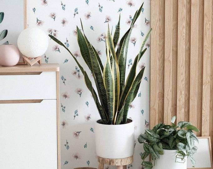 Minimal Floral Wallpaper, Removable Wallpaper, Botanical Wallpaper, Flower Wallpaper, Nursery Wallpaper, White Floral Wallpaper