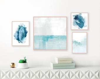Blue and White Abstract Gallery Wall Art, Set of 4 Art Prints