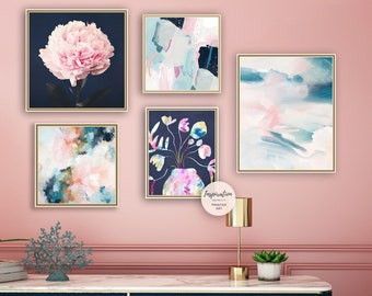 Gallery Wall Prints, Giclee Print, Pink Navy Wall Art, Set of 5 Prints, Abstract Wall Art, Floral Prints, Contemporary Art, Maximalism