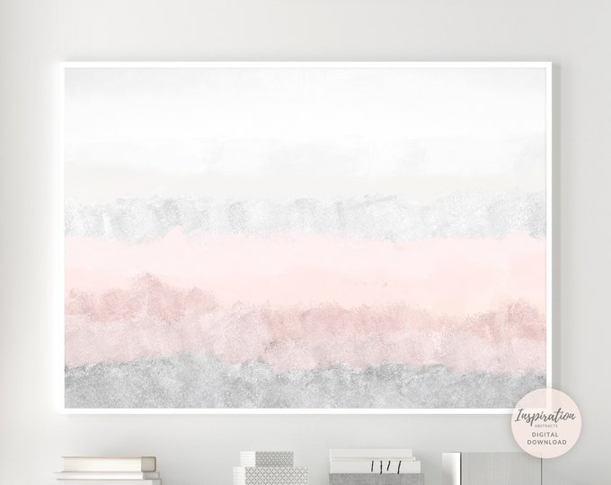 Pink and Grey Abstract Painting, Calming Wall Art, Printable Art, Nursery Wall Art, Large Wall Art, Abstract Art, Bedroom Wall Art