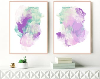 A Set of 2 Purple and Green Paintings, Large Modern Wall Art