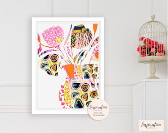 Abstract Collage Art, Flower Print, Colourful Wall Art, Maximalism, Boho Wall Art, Nursery Decor,  Printable Wall Art