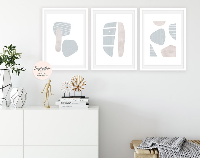 Minimalist Art, Set of 3 Prints, Scandinavian Wall Art, Oversized Wall Art, Geometric Art Prints, Large Wall Art, Printable Wall Art