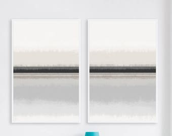 Minimalist Grey and Beige Diptych, Set of 2 Printable Abstract Art Prints, Large 24x36 Contemporary Paintings