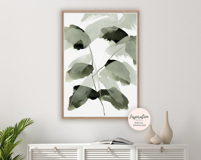 Watercolour Leaves Print, Greenery Wall Art, Botanical Poster, Watercolour Print, Modern Art, Printable Art, Leaf Poster, Abstract Wall Art