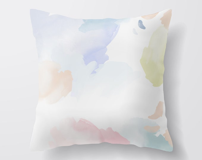 Pretty Pastel Throw Pillow, Decorative Pillows, Cushion Covers Uk, New Home Gift, Abstract Throw Pillow, Living Room Decor, Velvet Cushion