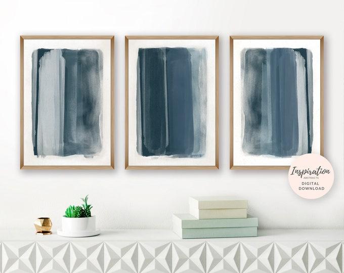 Navy Blue Abstract Paintings, Set of 3 Art Prints, Printable Paintings, Digital Download, Vertical Wall Art