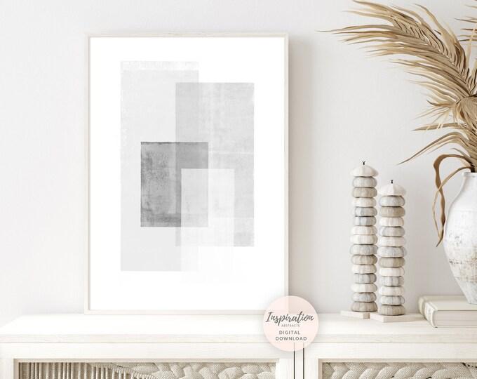 Minimal Grey and White Abstract Art, Printable Geometric Wall Art, Large Minimal Art, Minimalist Decor