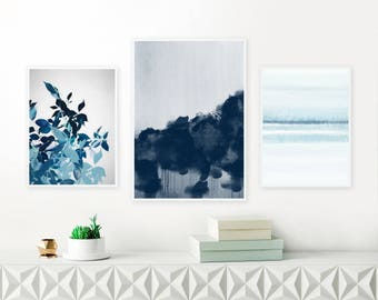 Navy Blue Abstract Paintings, Set of 3 Framed Gallery Wall Prints