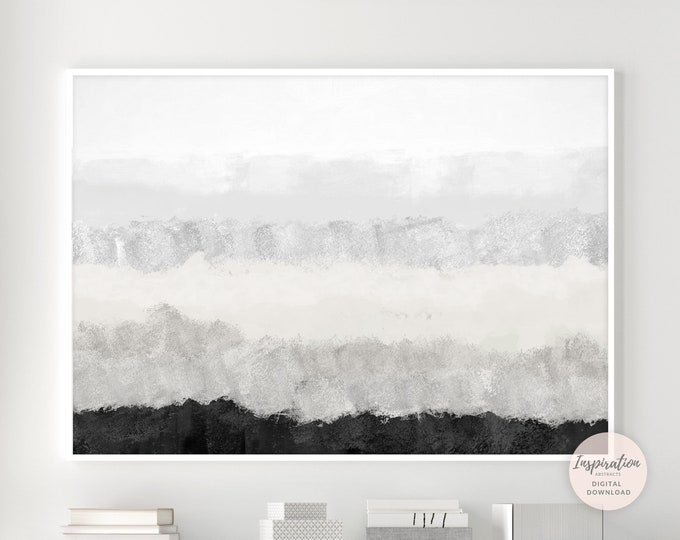 Minimal Grey and Black Abstract Painting, Large Painting, Mixed Media Art, Printable Art, Living Room Art, Large Wall Art, Modern Wall Art