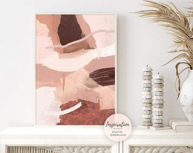 Printable Earth Tone Art Print, Abstract Painting, Terracotta Wall Art, Digital Download