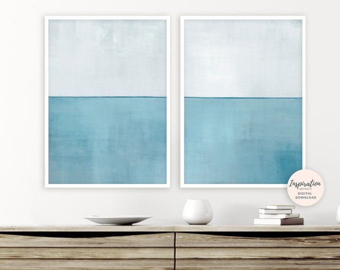 Large Minimalist Paintings, Beach House Art, Set Of 2 Prints, Abstract Art, Acrylic Paintings, Living Room Decor, Rothko Inspired