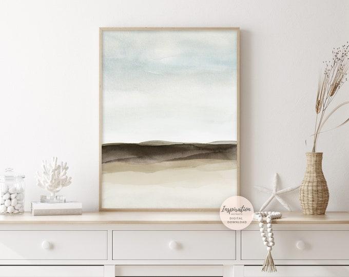 Minimal Landscape Painting, Watercolour Print, Zen Wall Art, Lake House Decor, Printable Art, Coastal Wall Art, Bedroom Wall Art