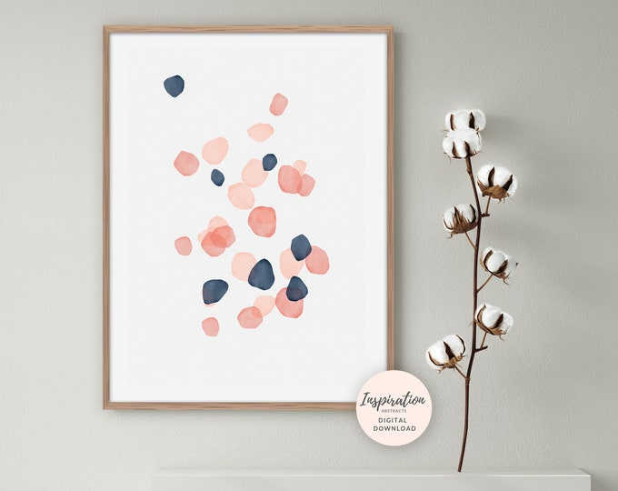 Pink and Navy Geometric Print, Abstract Wall Art, Watercolour Print, Minimal Painting, Printable Art, Large Wall Art, Inspiration Abstracts