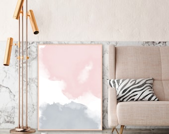 Blush Pink and Grey Watercolour Print, Printable Living Room Decor