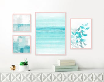 Aqua Gallery Wall Prints, Set of 4 Printable Abstract Artworks, Turquoise and White Art, Mixed Media Living Room Art, Leaf Prints