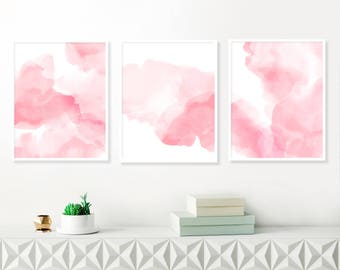 Pink Abstract Art, Set of 3 Watercolour Paintings, Girl Nursery Art, Large Feature Wall Paintings, Printable Wall Art, Inspiration Abstracts