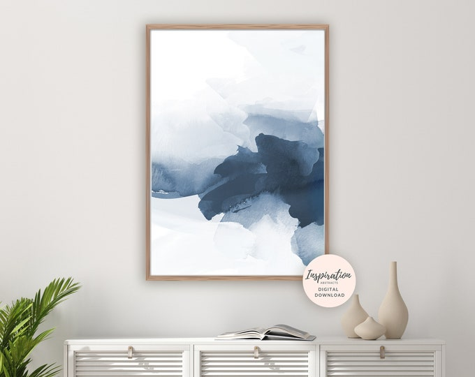 Navy Blue Watercolour Painting, Abstract Art, Minimalist Art, Printable Poster, Modern Wall Art, Navy Blue Wall Art, Calming Wall Art