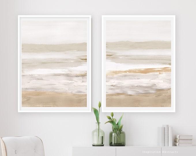 Calming Abstract Print Set, Printable Art, Neutral Tone Prints, Acrylic Paintings, Minimalist Wall Art, Set of Two Prints