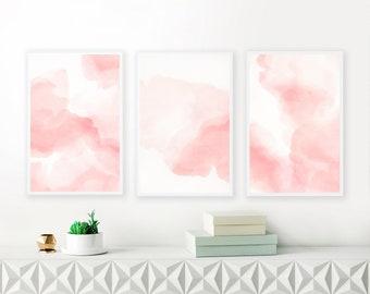 Blush Pink Watercolour Paintings, Set of three Prints,  Baby Girls Nursery Art, Large Printable Wall Art, Blush Pink Bedroom Art
