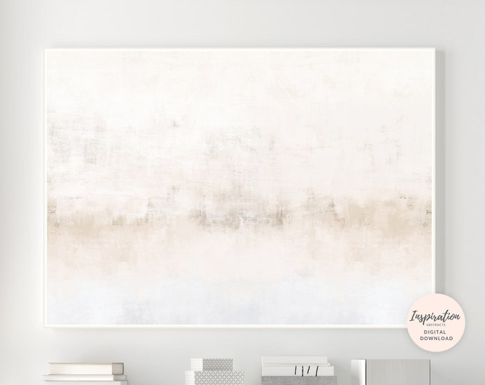 Large Beige and Grey Abstract Painting, Printable Art, Large Wall Art, Minimalist Art, Living Room Art, Zen Wall Art, Horizontal Wall Art