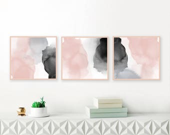 Blush Pink, Black and Grey Watercolour Paintings, Downloadable Abstract Art