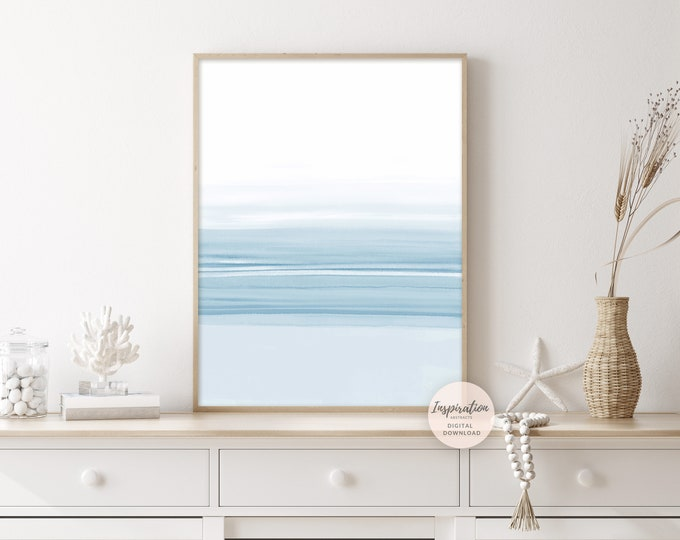 Blue Watercolour Painting, Coastal Wall Art, Minimalist Print, Zen Wall Art, Printable Art, Abstract Art, Nursery Print, Lake House Decor