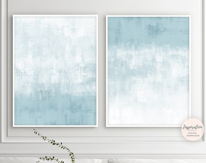 Pale Blue Abstract Art, Minimalist Print Set, Zen Wall Art, Set Of 2 Prints, Coastal Decor, Printable Art, Large Wall Art, Minimal Aesthetic