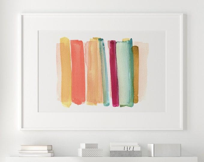 Colourful Painting, Mixed Media Art, Fine Art Print, Abstract Art, Watercolour Print, Minimal Abstract Art, Kids Room Art, Nursery Art