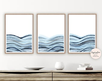 Minimalist Print Set, Printable Art, Set of 3 Prints, Ocean Print Set, Zen Wall Art, Beach House Art, Watercolour Prints, Bedroom Wall Art