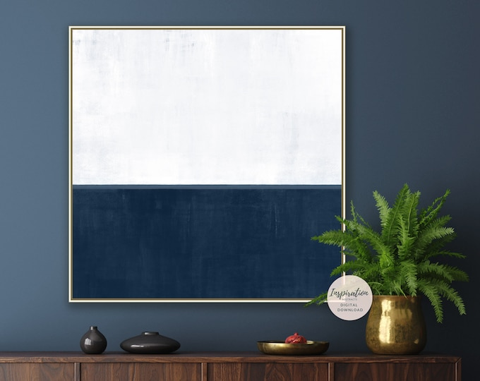 Minimal Abstract Painting, Printable Art, Large Minimal Wall Art, Navy and White Painting, Large Wall Art, Living Room Art, Rothko Inspired