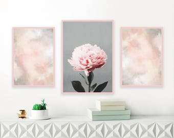Blush Pink and Grey Gallery Wall Art, Set of 3 Printables, Peony Wall Art, Abstract Paintings