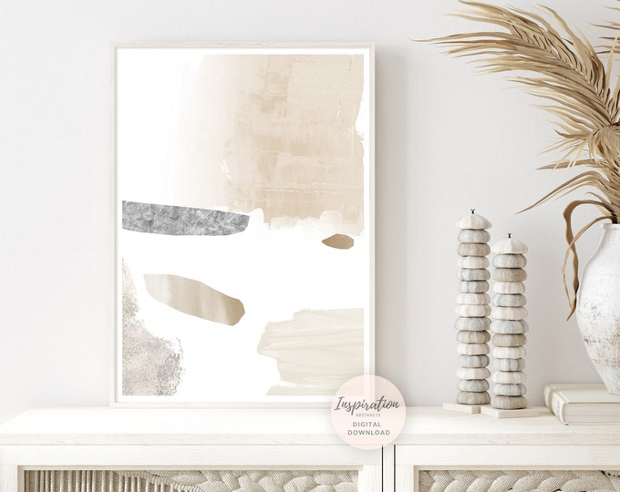 Calming Abstract Painting with Beige Grey and White Tones, Zen Wall Art, Large Minimal Art, Boho Decor