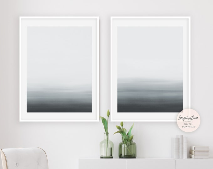 Set of 2 Prints, Minimal Abstract Art, Grey White Wall Art, Abstract Coastal Wall Art, Minimalist Paintings, Modern Art, Scandinavian Print