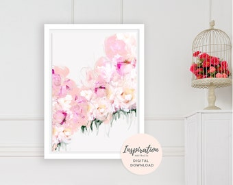 Flower Painting, Printable Wall Art, Pink Peonies Wall Art, Floral Print, Nursery Decor, Mom Gift, Flower Print