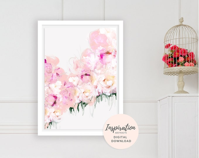 Featured listing image: Flower Painting, Printable Wall Art, Pink Peonies Wall Art, Floral Print, Nursery Decor, Mom Gift, Flower Print