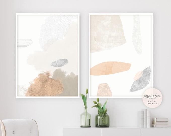 Set Of Two Modern Abstract Paintings, Neutral Tone Prints, Minimalist Wall Art, Printable Wall Art, Large Wall Art, Bedroom Wall Art