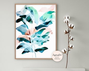 Abstract Leaf Art, Watercolour Painting, Plant Prints, Leaf Poster, Colourful Wall Art, Botanical Print, Printable Art, Modern Wall Art