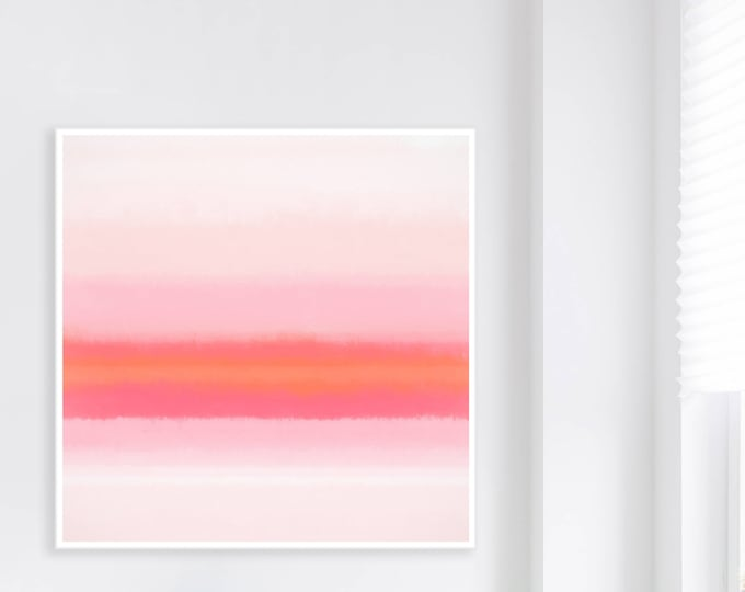 Large Pink and Orange Colour field Painting, 40 x 40 Printable Modern Art, Oversized Abstract