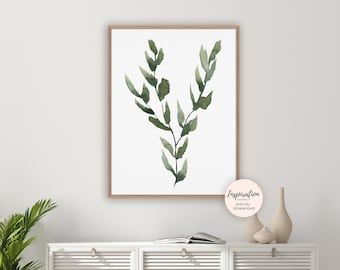 Leaves Print, Botanical Wall Art, Serene Wall Art, Watercolour Painting, Green Wall Art, Printable Art, Modern Art, Living Room Decor