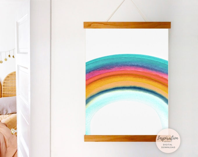 Boho Nursery Printable, Rainbow Wall Art, Nursery Art, Watercolour Print, Hand Painted Art, Printable Art, Nursery Prints, Poster Print