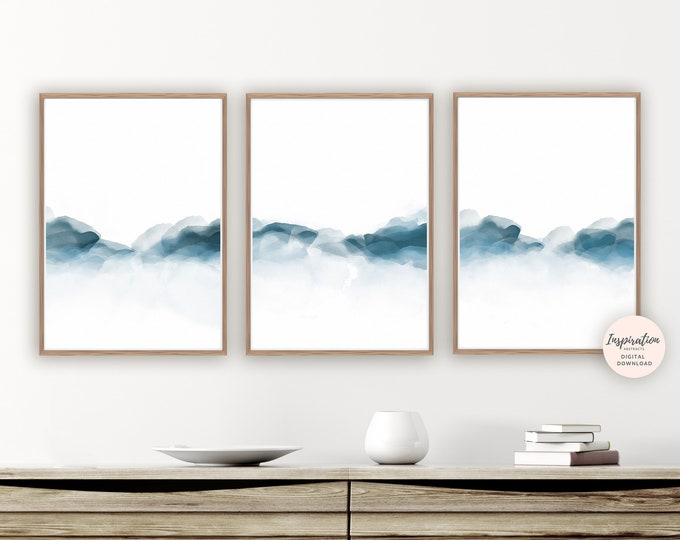 Mountain Prints, Navy Blue Wall Art, Set of 3 Prints, Landscape Paintings, Zen Wall Art, Printable Art, Bedroom Decor, Scandinavian Art