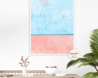 Coral Pink and Blue Abstract Art, Large Wall Art, Printable Art, 24x36 Art Print, Minimalist Painting, Rothko Inspired, Large Wall Art